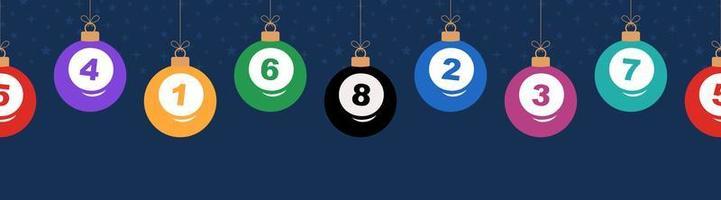 Merry Christmas billiard seamless horizontal pattern. Hang on a thread flat cartoon billiard ball as a Christmas ball on blue horizontal background. Sport Vector illustration.