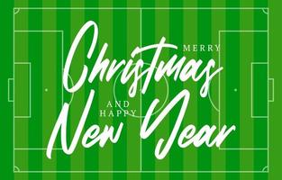 Christmas and new year football field greeting card with lettering. Creative tennis field background for Christmas and New Year celebration. Sport greeting card