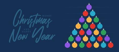 Christmas and new year greeting flat cartoon card. Creative Xmas tree made colorful bauble balls on blue background for Christmas and New Year celebration.