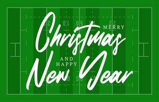 Christmas and new year american football field greeting card with lettering. Creative rugby field background for Christmas and New Year celebration. Sport greeting card