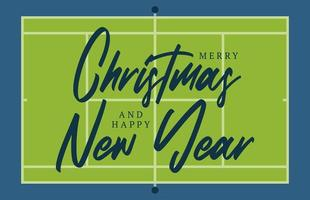 Christmas and new year tennis court field greeting card with lettering. Creative tennis field background for Christmas and New Year celebration. Sport greeting card