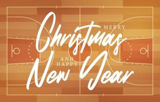 Christmas and new year basketball field greeting card with lettering. Creative basketball field background for Christmas and New Year celebration. Sport greeting card