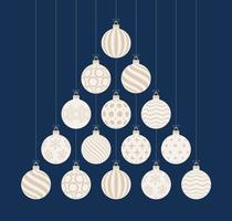 Christmas and new year greeting flat cartoon card. Creative Xmas tree made white and gold bauble balls on blue background for Christmas and New Year celebration.