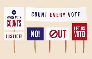 contar cada voto. Conjunto de política de placa de señal de piquete de protesta, tabletas, pancartas para manifestación. situación en Estados Unidos después de las elecciones presidenciales de 2020