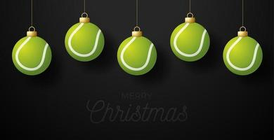 Merry Christmas Tennis greeting card. Hang on a thread Tennis ball as a Christmas ball on black horizontal background. Sport Vector illustration.