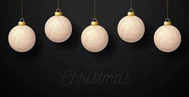 Merry Christmas volleyball greeting card. Hang on a thread volleyball ball as a Christmas ball on black horizontal background. Sport Vector illustration.