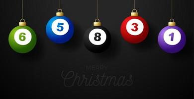 Merry Christmas billiard greeting card. Hang on a thread billiard ball as a Christmas ball on black horizontal background. Sport Vector illustration.