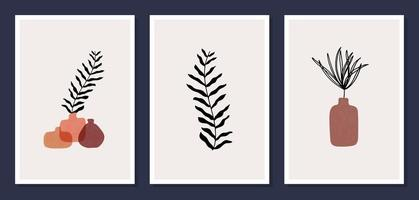 Set of 3 modern aesthetic posters for home decor, invitation, greeting card designs. Abstract minimalist illustrations with hand drawn design elements, plants, geometric shapes. vector