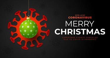 Bola de Navidad verde y peligro de coronavirus de cuarentena. coronavirus covid-19 y concepto cancelado de navidad o año nuevo. ilustración vectorial