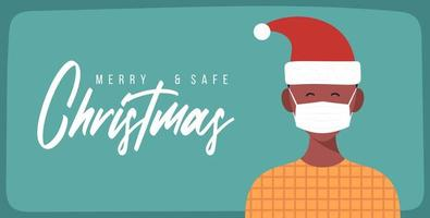 Merry and safe Christmas. African Man in Santa Claus hat wearing protective face mask against coronavirus. Christmas during pandemic. Holiday greeting card Xmas celebration. Flat Vector illustration.