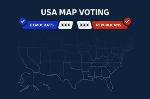 USA Presidential election results map. USA map voting. Presidential election map each state American electoral votes showing republicans or democrats political vector infographic