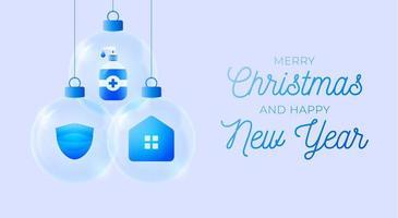banner de bola de coronavirus de navidad. Eventos navideños y festivos durante una ilustración vectorial pandémica. prevención de covid-19