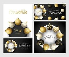 Set of Luxury Christmas and New Year square greeting card with tree balls on circle. Christmas card with ornate black, gold and white realistic balls on black modern background. Vector illustration.