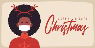 Merry and safe Christmas. African woman in deer antlers hat wearing protective face mask against coronavirus. Christmas during pandemic holiday greeting card Xmas celebration flat vector illustration.