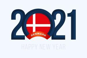 New Year 2021 with Denmark Flag. Vector illustration with Lettering Happy New 2021 Year on white background