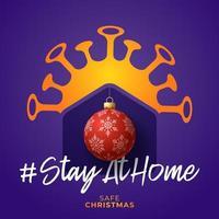 feliz hogar seguro navidad 2020. tarjeta de navidad de coronavirus con casa de vector e icono de bola. Quedarse en casa insignia en cuarentena. reacción covid-19.