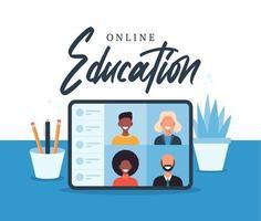 educación en línea, e-learning, concepto de curso en línea, ilustración de vector de escuela en casa. estudiantes en la pantalla de la computadora portátil, aprendizaje a distancia, nuevo normal, ilustración plana vectorial de dibujos animados