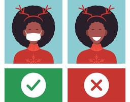 No mask no entry. Protect and prevent from coronavirus or Covid-19 flat cartoon warning vector