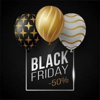 Black Friday Sale Poster With Shiny Luxury Balloons on Black Background With Glass Square Frame. Vector Illustration.