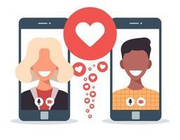 concepto de aplicación de citas en línea con hombre y mujer. Ilustración de vector plano de relación multicultural con mujer rubia blanca y hombre africano en la pantalla del teléfono.