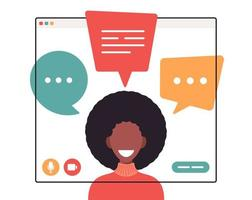 African businesswoman chatting during video call business woman with chat bubble speech in computer window communication online conference concept portrait horizontal cartoon flat vector illustration