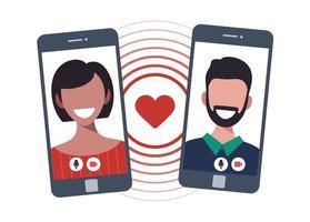 concepto de aplicación de citas en línea con hombre y mujer. Ilustración de vector plano de relación multicultural con mujer y hombre charlando en la pantalla del teléfono.