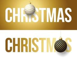 Luxury trendy gold typography Christmas on a background with Xmas ball. Typography with realistic 3d tree toy for the design of flyers, brochures, leaflets, posters and cards vector