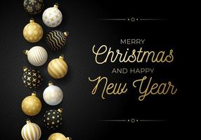 Luxury Christmas and new year horizontal greeting card with tree toy border. Holiday vector illustration with realistic ornate black, white and golden Christmas balls on black background.