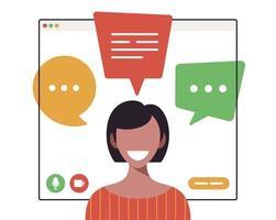 mujer de negocios, charlar, durante, video llamada vector