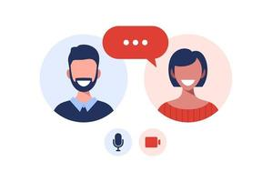 Illustration of two happy people talking via video call. Smiling men and women work and communicate remotely. Team meeting vector illustration in flat design