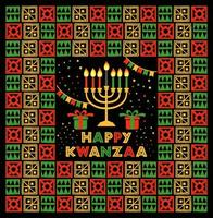 Banner for Kwanzaa with traditional colors and candles