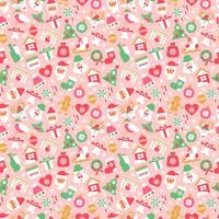 Christmas seamless pattern with new year icons