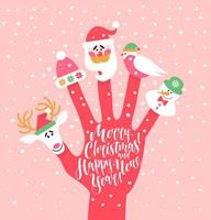 Holiday background with finger puppets vector