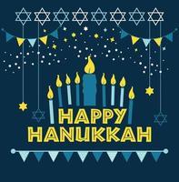 Jewish holiday Hanukkah greeting card vector