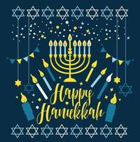 Jewish holiday Hanukkah greeting card vector