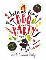 BBQ party invitation on white background vector
