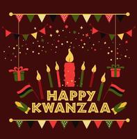 Banner for Kwanzaa with traditional colored and candles