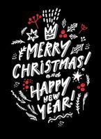 Merry Christmas Lettering on a black background