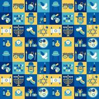 Jewish holiday Hanukkah Chanukah symbols set vector