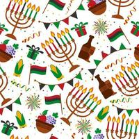 Seamless pattern for Kwanzaa with traditional elements