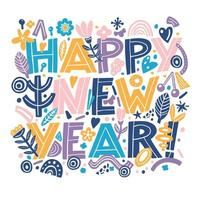 Happy new year banner in Hand Drawing typography style