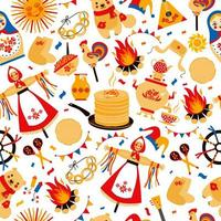 Russian inscription Wide Maslenitsa seamless pattern