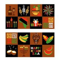 Banner set for Kwanzaa with traditional colors vector