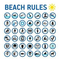 Beach rules icons set and signs on white vector