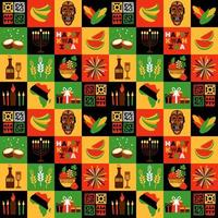 Banner for Kwanzaa with traditional symbols vector