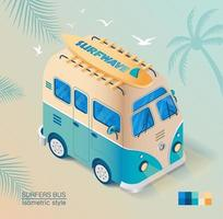 Old bus on the beach with surfboard in isometric style