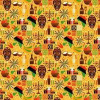 Seamless pattern for Kwanzaa with traditional colors vector