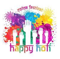 Watercolor hand drawn Happy Holi celebration card vector