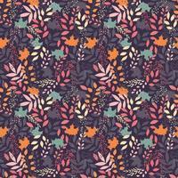 otoño de patrones sin fisuras con elementos decorativos florales, diseño colorido. vector