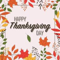 Happy Thanksgiving day card with floral decorative elements, colorful design. vector